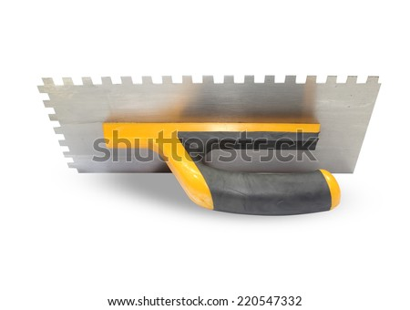 Finishing trowel isolated on white - stock photo