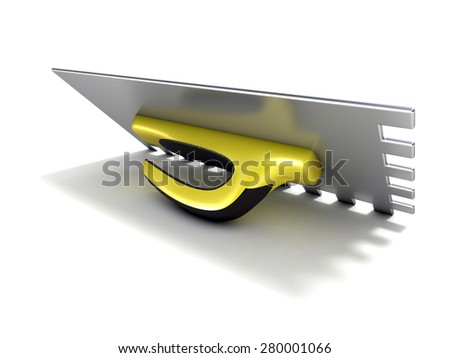 Finishing trowel with yellow black rubber handle. 3D render isolated on white background - stock photo