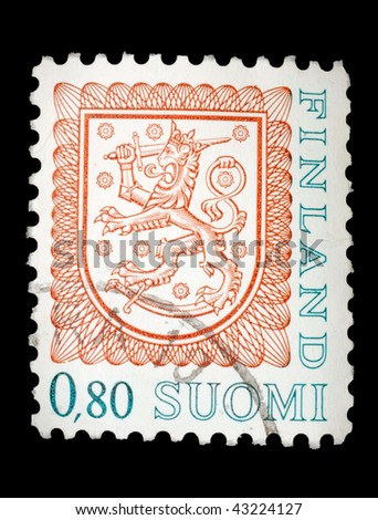 FINLAND - CIRCA 1956: A stamp printed in Finland shows image of a lion, series, circa 1956