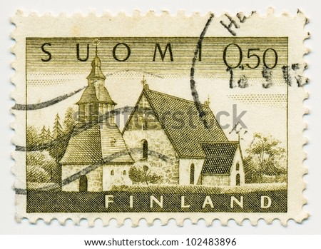 FINLAND - CIRCA 1962: A stamp printed in Finland shows Medieval Church at Lammi 1510s, circa 1962