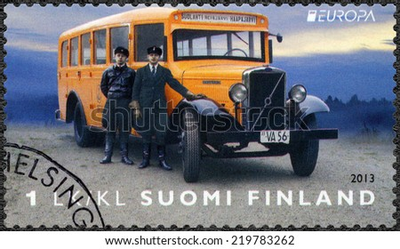 FINLAND - CIRCA 2013: A stamp printed in Finland shows Postal Vehicle, circa 2013 - stock photo