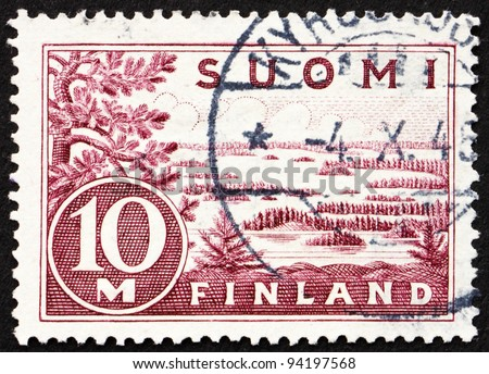 FINLAND - CIRCA 1930: a stamp printed in the Finland shows Lake Saima, circa 1930