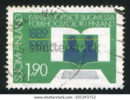 FINLAND - CIRCA 1989: stamp printed by Finland, shows Continuing Education in Finland, circa 1989 - stock photo