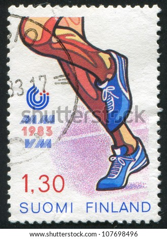 FINLAND - CIRCA 1983: stamp printed by Finland, shows Running, circa 1983 - stock photo