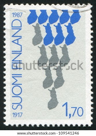 FINLAND - CIRCA 1987: stamp printed by Finland, shows Triangle made by the silhouette of Finland, circa 1987 - stock photo