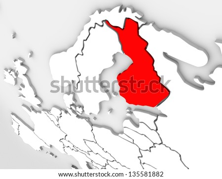 Finland country on an abstract illustrated 3d map of northern Europe continent and Scandinavia region - stock photo