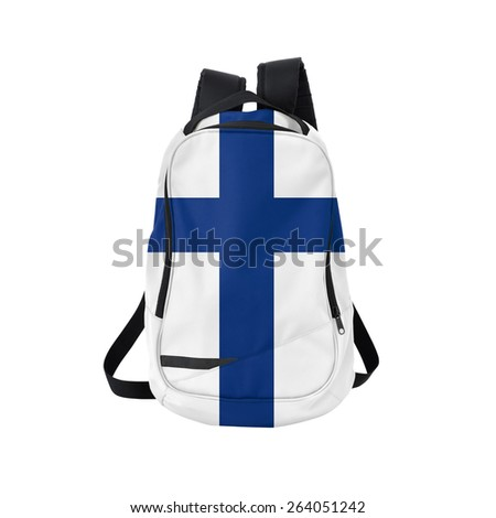 Finland flag backpack isolated on white background. Back to school concept. Education and study abroad. Travel and tourism in Finland - stock photo