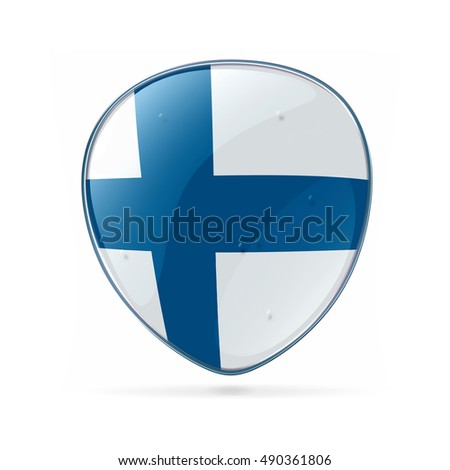 Finland Flag icon, isolated on white background.
