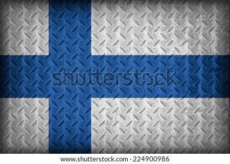 Finland flag pattern on the diamond metal plate texture ,vintage style - stock photo