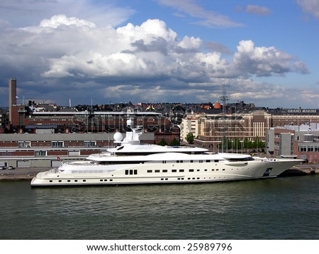 Finland, Helsinki. The big yacht in harbour - stock photo