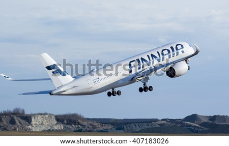 Finland, Helsinki-Vantaa Airport, April, 16, 2016, Finnair Airlines Airbus A350-900 taking off