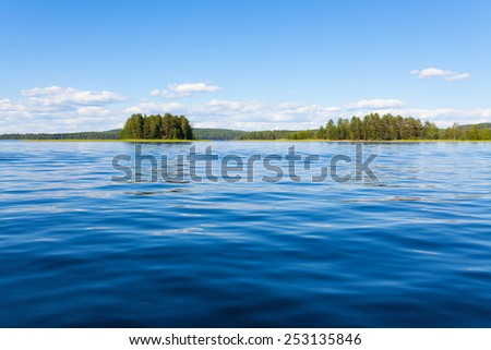 Finland lake scape at summer - stock photo
