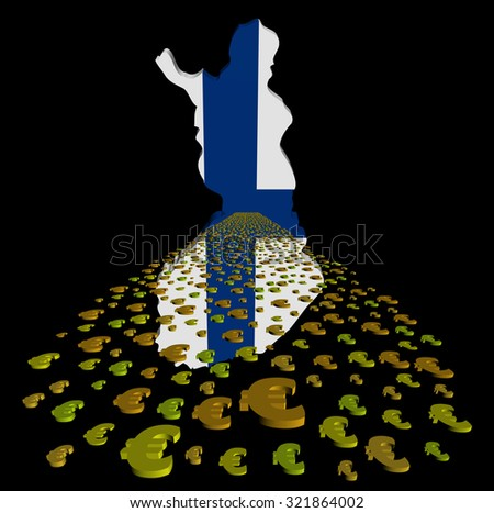 Finland map flag with euros foreground illustration - stock photo