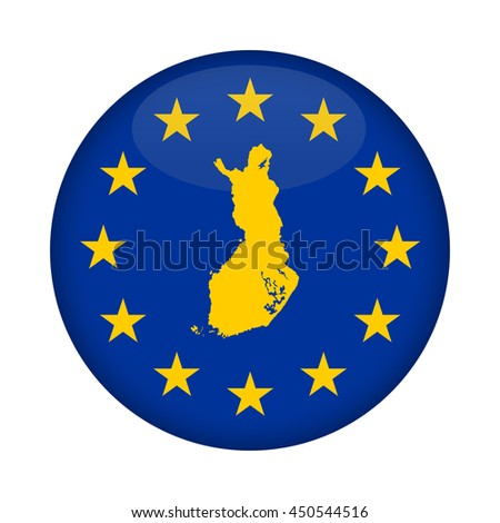Finland map on a European Union flag button isolated on a white background. - stock photo