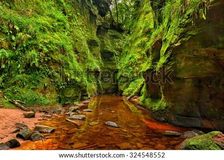 Finnich Glen, also known as Devil's Pulpit near Loch Lomond, Scotland, United Kingdom. Hdr processed. - stock photo