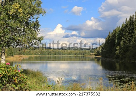 Finnish late summer lake scenery with reflections on water and lush green trees on the shores.