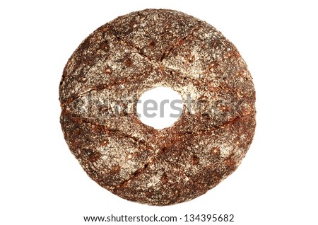 finnish round rye bread on a white background - stock photo