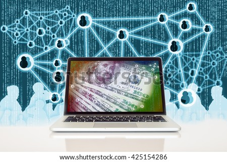 Fintech and Digital disruption concept background. Laptop computer with US bank notes and digital code abstract on its screen against digital code and connection background. - stock photo