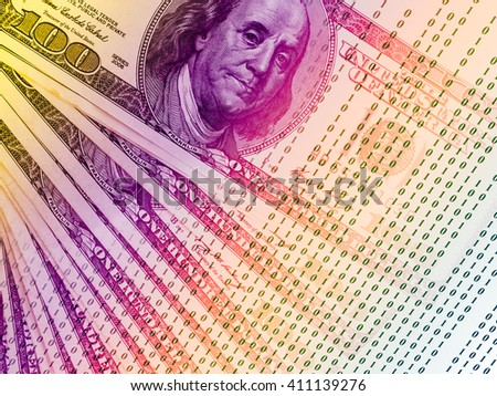 FINTECH concept image. Double exposure of US Dollar banknotes and abstract binary code background, Representing the cryptocurrency or digital money. - stock photo