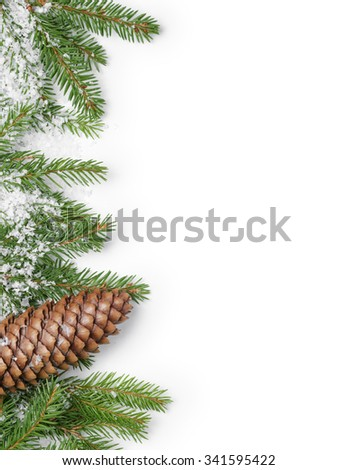 fir branches border on white background, good for christmas backdrop