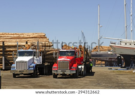 Fir logs being moved for loading onto a commercial ship for export to Asia on the mill dock in Astoria Oregon - stock photo
