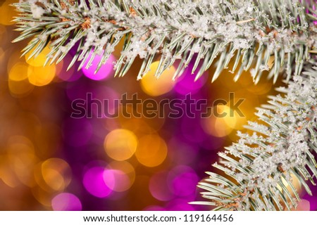 fir tree branch with snow on golden bokeh background - stock photo