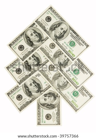Fir tree made of dollars isolated on white background