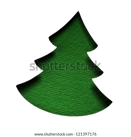 fir tree or Christmas tree isolated on white - stock photo