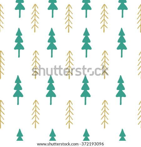 Fir tree seamless pattern colorful. illustration. Christmas trees. Child drawing style trees. - stock photo