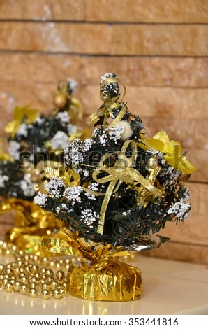 fir tree with golden decorations