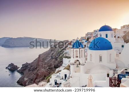 Fira is the main stunning cliff-perched town on Santorini, member of the Cyclades islands, Aegean sea.
