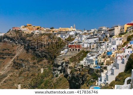 Fira, modern capital of the Greek Aegean island, Santorini, in the sunny day, Greece