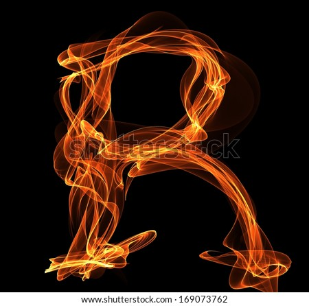Fire ABC. R letter in fire illustration - stock photo