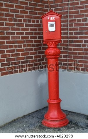 Fire alarm box and transmitter on pedestal