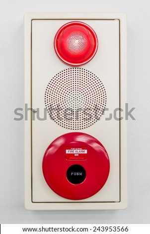 Fire alarm box contain by press switch,siren speaker and red light - stock photo