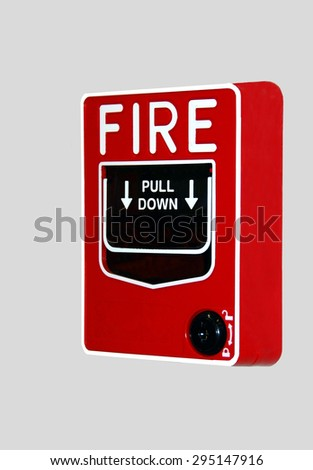 Fire Alarm box on wall - stock photo
