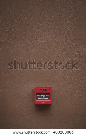 Fire alarm box with copy space. - stock photo