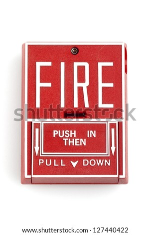 Fire alarm, isolated over a white background - stock photo