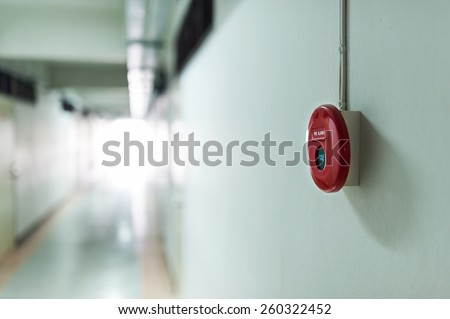 Fire Alarm near door fire . - stock photo