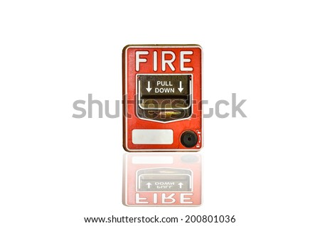 Fire alarm switch on white background