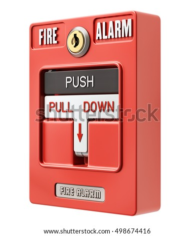 Fire alarm switch with push an pull button isolated on white background - 3D illustration