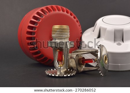 fire alarm system, sprinklers; selective focus - stock photo
