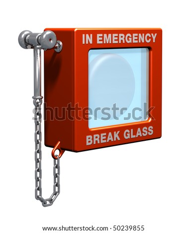 Fire alarm with hammer and chain - stock photo