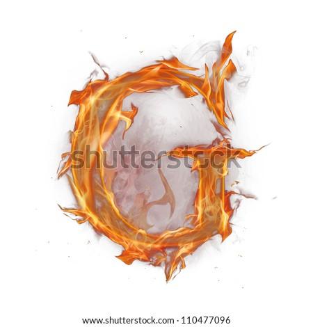 "Fire alphabet letter ""G"" - stock photo"