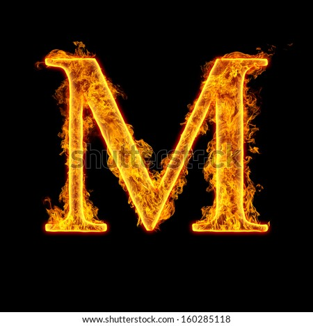 Fire Alphabet Letter M Isolated On Black Background