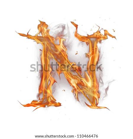 "Fire alphabet letter ""N"" - stock photo"