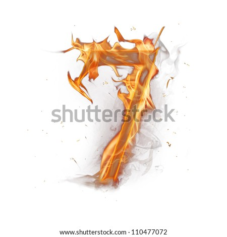Fire alphabet number 7 - stock photo