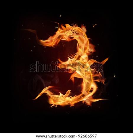"Fire alphabet number ""3"" - stock photo"