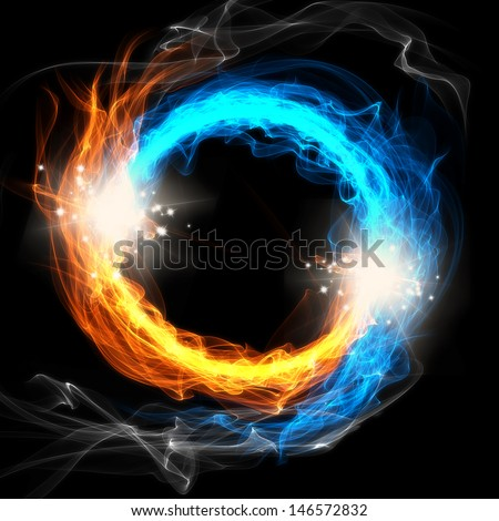 Fire and Ice, a round sign on a black background - stock photo