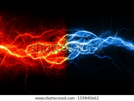 Fire and ice abstract lightning background
